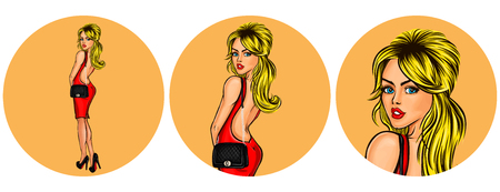 A Vector illustration, womens pop art round avatar icon for users of social networking, blogs. Girl in a red dress with a naked back looked back. Illustration