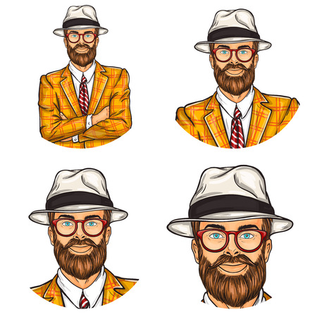 crossed arms: Illustration, mens pop art round avatar icon for users of social networking, blogs. Confident hipster man in hat and glasses with his arms crossed over his chest