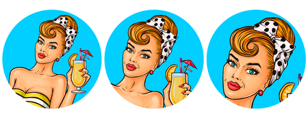Set of vector illustration, womens pop art round avatars icons for users of social networking, blogs. Girl is holding a glass of cocktail