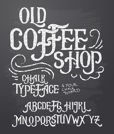 Vector illustration of retro font, capital letters written in white chalk on a blackboard. Template, design element for a signboard, advertising of coffee shop Ilustracja
