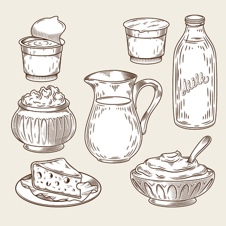 Vector illustration of a set of dairy products in the style of engraving. Black and white bottle and milk jug, sour cream, yogurt, cottage cheese, curd, cheese isolated on a light background