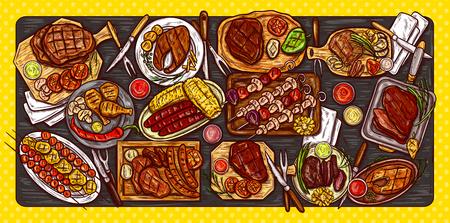 Vectorillustratie, culinaire banner, barbecueachtergrond met geroosterd voedsel, divers vlees, worsten, groenten en sausen. Gediende lijst voor barbecue, hoogste mening
