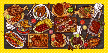 Vector illustration, culinary banner, barbecue background with grilled food, various meat, sausages, vegetables and sauces. Served table for barbecue, top view