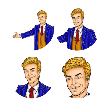 makes: Vector illustration, mens pop art round avatar icon for users of social networking, blogs. Confident man in a suit makes an inviting hand gesture
