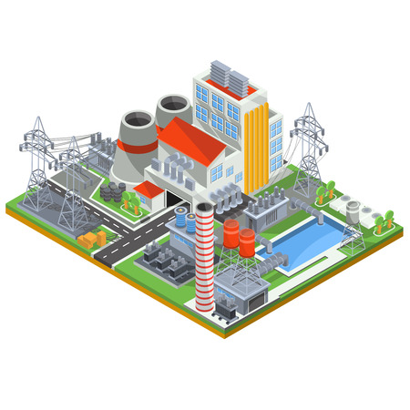 thermal power plant: Isometric illustration of a thermal power plant for the production of electrical energy with the flue pipes, industrial buildings and power lines Stock Photo