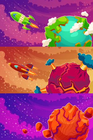 Set of horizontal banners with cartoon fantasy alien planets, space funny backgrounds with unknown planets and spaceships