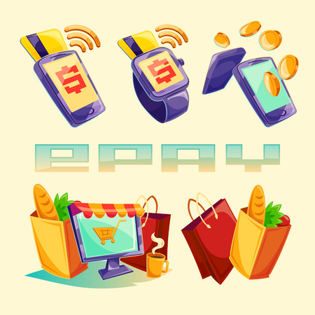 cartoon illustration devices for e-payments. Icons of mobile phones, laptop, wristwatches showing the ease and convenience of online payments Stock Photo