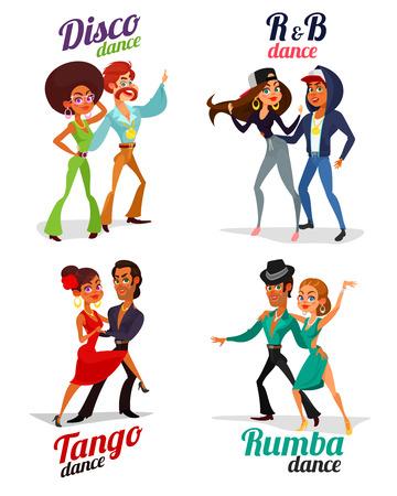 Cartoon illustraties van een paren dansen tango, rumba, disco en hip hop geïsoleerd op een witte achtergrond instellen. Element voor de reclameposter van de dansschool, wedstrijden in dansen