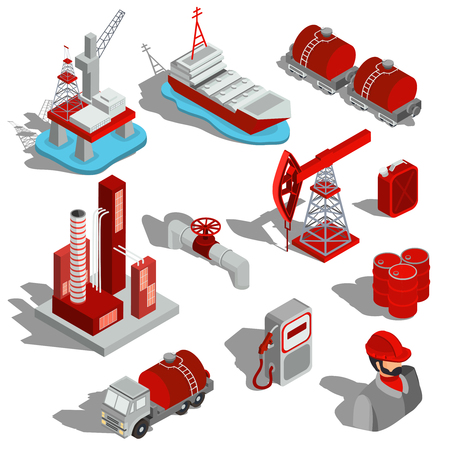 石油産業の分離等尺性イラストのセット。列を燃料油の抽出、輸送、石油精製、石油パイプライン、バレルの 3 D アイコン