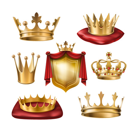 Set of icons of royal golden crowns and coat of arms isolated on white. Collection of crown awards for winners of competitions, design elements for a label, certificate, diploma Stock Photo