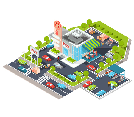 shopfront: isometric illustration of a modern Italian fast food restaurant with parking and gas station. Isometric pizzeria with a giant pizza sign, Italian cuisine