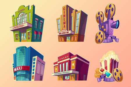 Set of isometric illustration of buildings ancient and modern cinema, film projector, popcorn in cartoon style