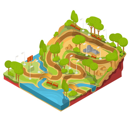 3D isometric illustration of cross section of a landscape park with a river flowing there, bridges, benches and lanterns. Soil in the section for the study of geological layers. Stock Photo