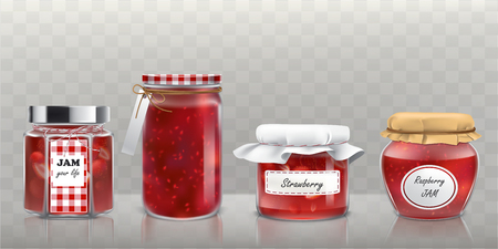Collection of glass jars with raspberry and strawberry jam in a realistic style