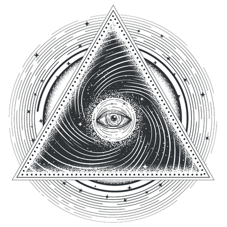 tattoo illustration abstract sacred geometry with an all-seeing eye. Mystic eye inside the triangle against the background of the universe.