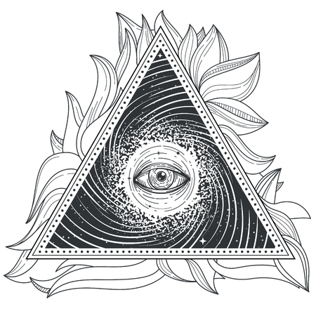 freemasonry: tattoo illustration abstract sacred geometry with an all-seeing eye. Mystic eye inside the triangle against the background of the universe.