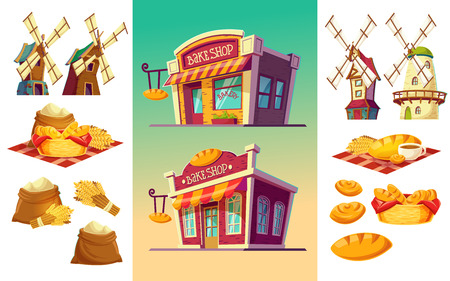 freshly: cartoon illustration of two bakeries with various facades and signboards, a set of icons for a bakery freshly baked bread, wheat ears, flour bags, windmills