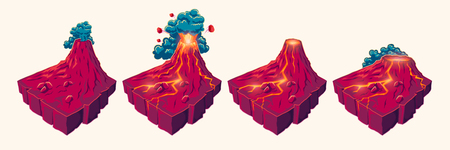 3D isometric illustrations of volcanic islands at various stages of a volcanic eruption, design elements for games