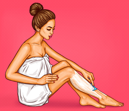 Pop art illustration of beautiful woman in a white bath towel shaves her legs with a safety razor.