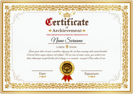 certificate template on awarding, design of certificate with golden vintage ornament on the contour and badge 版權商用圖片