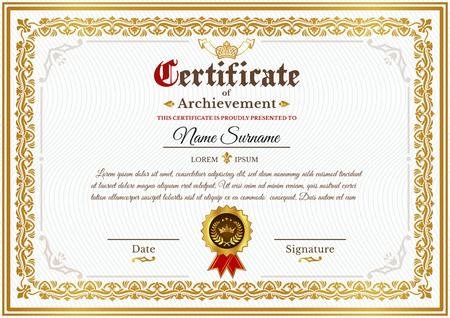 Zertifikatvorlage bei Vergabe, Gestaltung des Zertifikats mit goldenem Vintage-Ornament an Kontur und Abzeichen Standard-Bild - 81513139