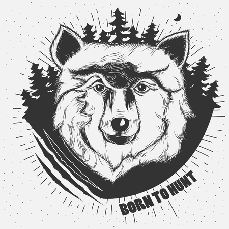 hand-drawn illustration of a wolf head in black and white. Tattoo Design Stock Photo