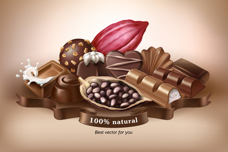 Vector illustration, banner with chocolate sweets, chocolate bar and cocoa beans. Print, template, design element for packaging and advertising, sticker