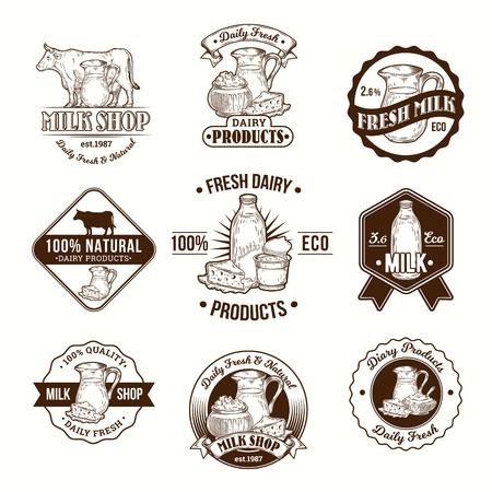 Reeks vectorillustraties, kentekens, stickers, etiketten, embleem, zegels voor melk en zuivelproducten voor verpakking, reclame en kruidenierswinkelopslag