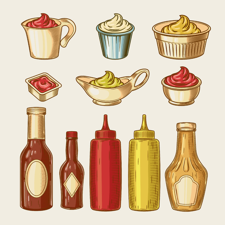 dressing: Vector illustration of an engraving style set of different sauces in saucepans and bottles. Ketchup, yogurt, sour cream, mayonnaise, mustard, tar tare sauce, vassabi