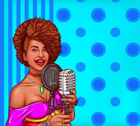 マイクを持っている黒人女性歌手のベクトル ポップアート イラスト。アフリカ系アメリカ人の歌姫スター ビンテージ マイクで歌う  イラスト・ベクター素材