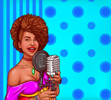 Vector pop art illustration of a black woman singer holding a microphone. Afro-American diva star sings in vintage microphone Illustration