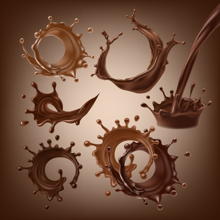 Set vector 3D illustrations, splashes and drops of melted dark and milk chocolate, dynamic splashes of hot coffee, cocoa, liquid chocolate. Print, template, design element for packaging, advertising
