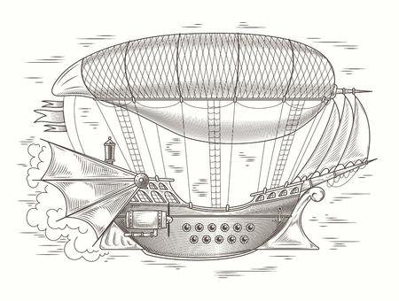 Vector steampunk ilustración de una nave voladora de madera fantástica en el estilo de grabado para impresión, plantilla, elemento de diseño