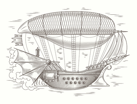 Vector steampunk illustration of a fantastic wooden flying ship in the style of engraving for print, template, design element