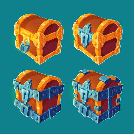 Verzameling van geïsoleerde cartoon illustraties van houten kisten vergrendeld en gebonden ijzer. Kan worden gebruikt als elementen van gameontwerp