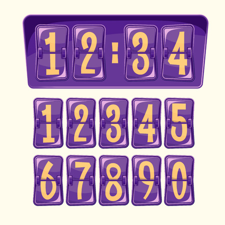 illustration of a countdown timer, a mechanical scoreboard blank and various numerals in cartoon style. Set of numeral alphabeth