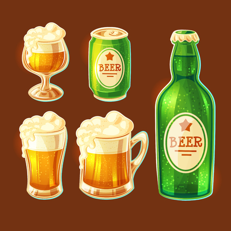 Set of isolated cartoon illustrations of various containers for bottling and storing beer - beer glasses of various shapes, glass bottle, aluminum can