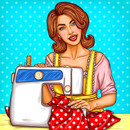 바느질 기계, 중소 기업에 바느질 젊은 여자 dressmaker의 벡터 팝 아트 그림. 작업복, 바느질, 취미 바느질 dressmaker
