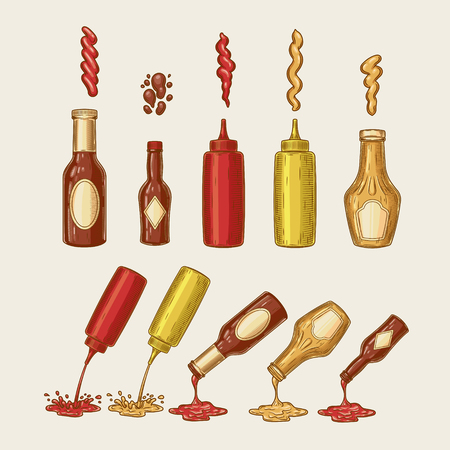 Vector illustration of an engraving style set of different sauces are poured from bottles. Ketchup, mayonnaise, mustard, chilli sauce and others