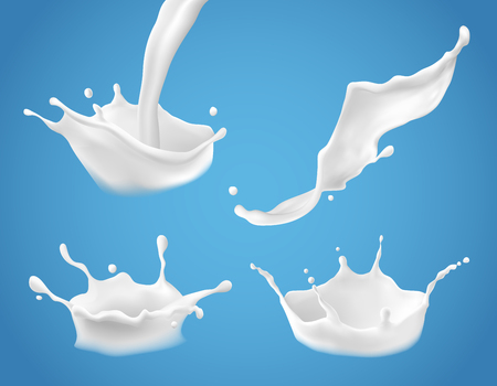 Set of 3D vector illustrations, milk splash and pouring, realistic natural dairy products, yogurt or cream, isolated on blue background. Print, template, design element Vettoriali