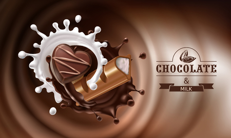 A Vector 3D realistic illustration, splashes of melted chocolate and milk with falling piece of chocolate bar and candy.Design of packaging for chocolates, candies, template, advertising poster