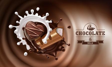 Un'illustrazione realistica di vettore 3D, spruzza di cioccolato fuso e latte con la parte di caduta della barra di cioccolato e della caramella. Disegno dell'imballaggio per i cioccolatini, le caramelle, il modello, manifesto pubblicitario Archivio Fotografico - 82349469