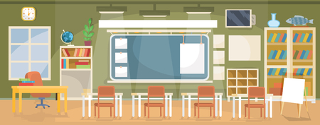 furniture design: Vector flat illustration of an empty classroom in a school, university, college, institute with a blackboard, desks, chairs, bookshelves and empty banners for text Illustration