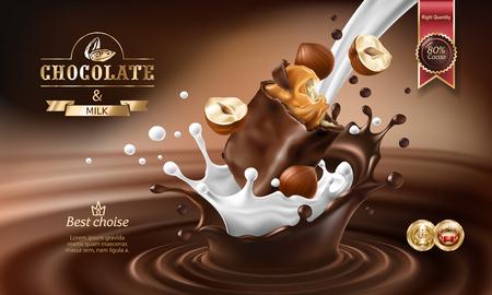 Vector a ilustração realística 3D, espirre do chocolate derretido e leite com a parte de queda de barra de chocolate e avelã. Projeto de embalagem de barra de chocolate, modelo, cartaz de publicidade para promoção Ilustración de vector