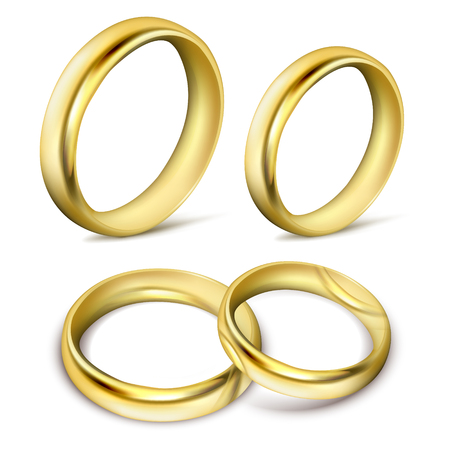 Set of realistic vector illustrations of gold wedding rings with shadow isolated on white. Print, template, design element