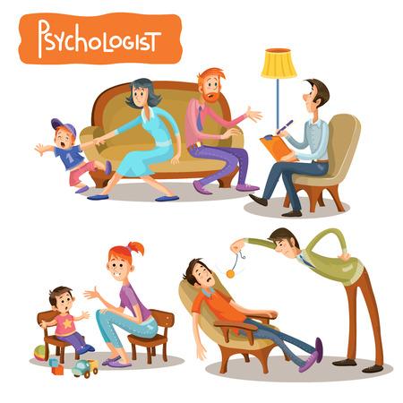Ilustraciones vectoriales de dibujos animados el paciente está hablando con un psicoterapeuta, la consulta del psicólogo. Empresario de depresión, problemas adolescentes, adicción al alcohol y las drogas, ADHD y autismo