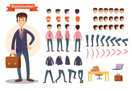 Reeks vectorbeeldverhaalillustraties voor het creëren van een karakter, zakenman. Verzameling van gezichten, voor-, zij- en achteraanzicht, emoties, handen en voeten gebogen in verschillende posities, kleding en accessoires Stock Illustratie