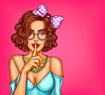 Vector pop art illustration of a sexy girl holding her finger on her lips and asking for silence, quiet, do not tell anyone. Excellent advertising poster for advertising discounts and sales Çizim