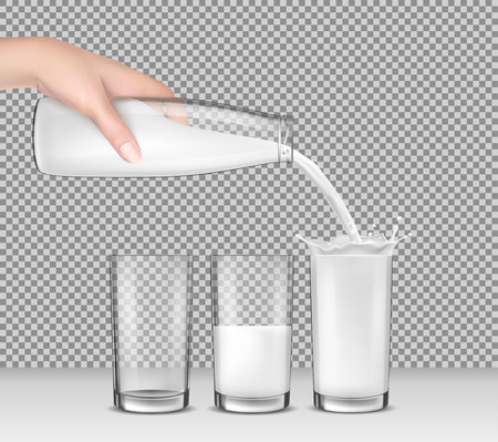 glass reflection: Vector realistic illustration, hand holding a glass bottle of milk, milk, dairy product, yogurt, kefir, protein cocktail pouring into drinking glasses.