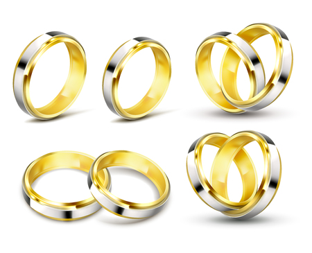 Set of realistic vector illustrations of gold wedding rings with elements of silver, platinum with shadow isolated on white.